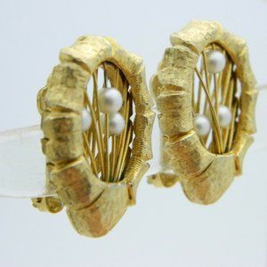 Vintage Jewelry - Ornate Gold Tone Faux Pearl Wire Clip Earrings